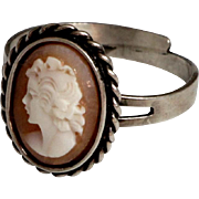 Antique Cameo Ring silver 835 with Lady Face