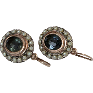 Antique silver 925 earrings with Blue Green Stones & pearls Sterling hallmarked