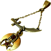 Antique Shriners Pendant 9K,14K Gold Enamel and Ruby Freemason Amulet Signed