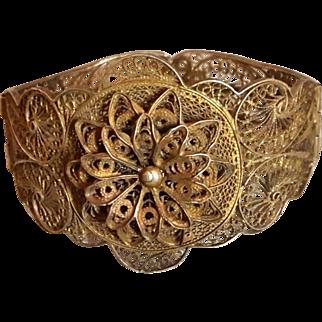 Antique Sterling Silver Gilded Filigree Bracelet Hinge pin lock