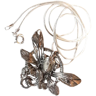 Antique Art Nouveau Dragonfly Lady Brooch silver Butterfly Girl Pendant Necklace