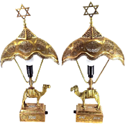 Antique Judaica Lamp Pair Pierced Copper,Brass Camels Islamic Damascus Silver work