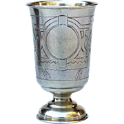 Antique Russian Goblet 1893 Silver 84 cup Hallmarked Etched Kiddush