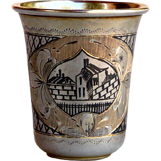 Antique Russian Silver Niello Cup 1875 Kiddush etched gilt Goblet.