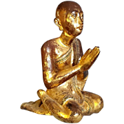 Antique Gilded wooden Monk Statue Solid Wood Praying Sitting Burmese Burma