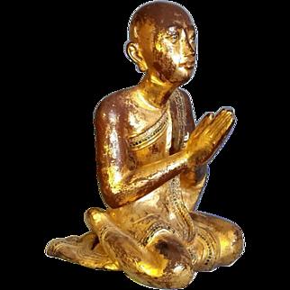 Antique Gilded wooden Monk Statue Solid Wood Praying Sitting Burmese Burma