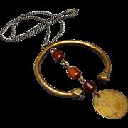 Antique Ottoman Coin Pendant Bakelite Islamic Heavy Copper Ethnic Necklace