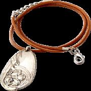 Antique Art Nouveau Silver Plated Pendant & Pin leather cord Necklace set