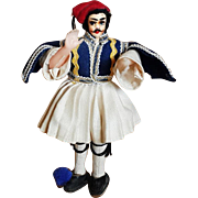 "Greek Greece Fustanella Doll Male Tsoulias Claping hands Figurine Hand Painted Face 6"" Tall Balkan's Albania Dress"