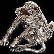 Vintage Silver Dog statue Electroforming Sitting Pointer dog on Platform 5 inch