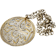 Old Islamic good luck Amulet Arabic Silver & copper Vintage Pendant Necklace