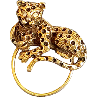 Vintage Leopard Brooch Gold Tone Rhinestones eyes Chita tiger Animal Pin