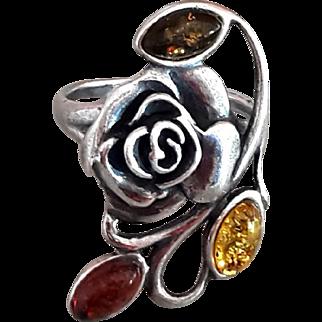 Sterling Silver Rose Ring Amber Petals Vintage signed 925 back of Flower