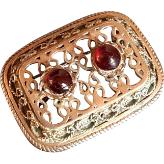 Filigree Brooch Sterling Silver 935 Vintage pin pendant with loop for Necklace