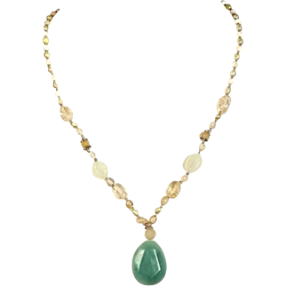 Vintage Green Agate stone Necklace with cultured river pearls and Roman Glass beads.