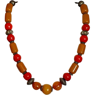 Islamic Vintage Necklace Ceramic,Bakelite and Copper Beads Jewelry