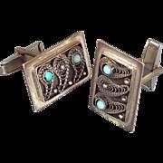 Vintage Filigree Cufflinks Sterling Silver Turquoise stones Designer signed Shirt studs