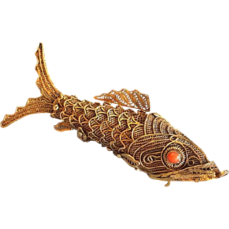 Filigree Fish Pendant Sterling Silver Gilded 7cm Vintage Charm Holder