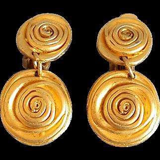 Vintage Norma Jean Clip Earrings Gold tone Designer Signed NJ Modernist Abstract Flower