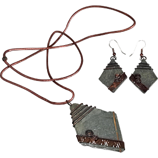Vintage Raw Slate stone Pendant Necklace and Earrings set Gray