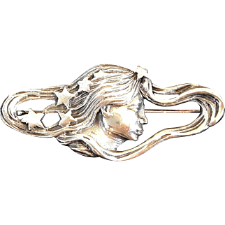 Vintage Art Nouveau Brooch Sterling Silver lady & Stars signed 925 woman pin