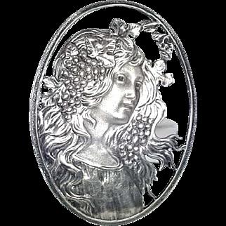 Large Art Nouveau Style Lady Brooch Vintage Silver 925 Signed Pin London Hallmark