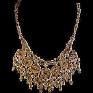 Islamic Yemenite Filigree Necklace Sterling Silver Gilded Vintage Yemen 1950's Jewelry.