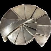 Massive Nautilus Brooch Modernist Art Deco Stylized Silver 925 Vintage Pendant Necklace