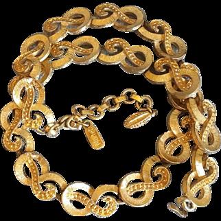 Monet Vintage Link Necklace Gold Tone Designer Signed Jewelry 1970's