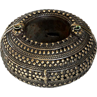Massive North Africa pin lock Vintage Bracelet Islamic Brass Copper Chunky
