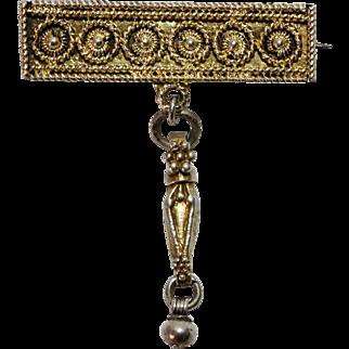 Vintage Filigree Bezalel signed Pin Sterling Silver gilded Jerusalem Brooch