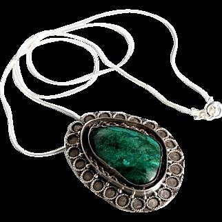 Vintage Modernist Eilat Stone Pendant Necklace Silver 935 Brooch Pin.