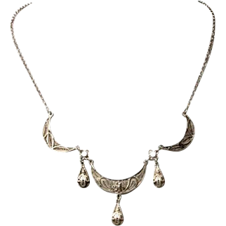 Vintage Filigree Necklace Sterling Silver Crescent moon and Granulated work.