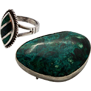 Vintage Large Eilat Stone Brooch & Ring Set 1960's Elat Sterling Silver Pin Pendant