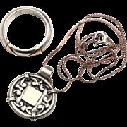 Vintage Silver 925 & 14k gold Necklace & Ring Modernist Pendant Set.