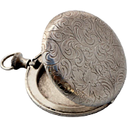 Vintage Silver 800 Locket box Pendant with Flower etching