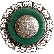 Vintage Mexico silver Brooch Malachite Green stone Mexican Pin