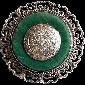 Vintage Mexico silver Brooch Malachite Green stone Mexican Pin