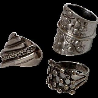 Vintage Modernist silver Ring Lot  3 rings Sterling signed 925