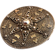 Vintage Filigree Brooch Palestine signed Silver gilded Pin Israel 1930's