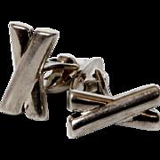 Vintage sterling silver Cufflinks Letter X Cuff Links 925 Men's Sleeve Button
