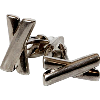 Vintage sterling silver Cufflinks Letter X Cuff Links 925 Men's Sleeve Button