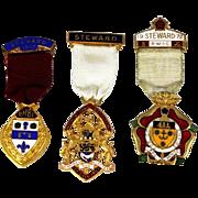 Masonic Steward Medal Freemason 1957,1967,1972 Pin Lot Vintage Freemasonry