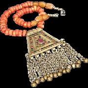 Moroccan Coral Necklace vintage Alpaca & Copper amulet.