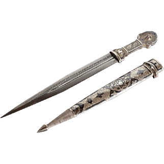 Russian Judaica Kindjal Dagger Caucasian Vintage Silver niello Ornamented David Star on Scabbard Knife