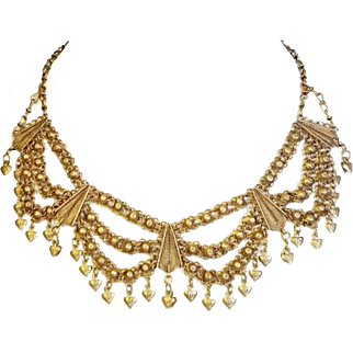 Yemenite Gilded Sterling Silver Filigree Necklace Vintage Islamic Hanging heart Jewelry