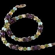 Vintage Necklace 14K gold,Amethyst,Blue topaz,Citrine & Sterling silver Beads