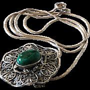 Vintage Silver Filigree Necklace Sterling Elat stone Pendant Pin Brooch.