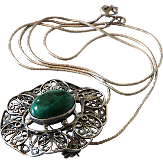 Vintage Silver Filigree Necklace Sterling Elat stone Pendant Pin Brooch.