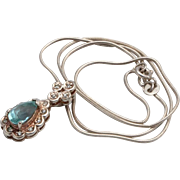 Blue topaz stone Pendant Sterling silver Vintage Necklace